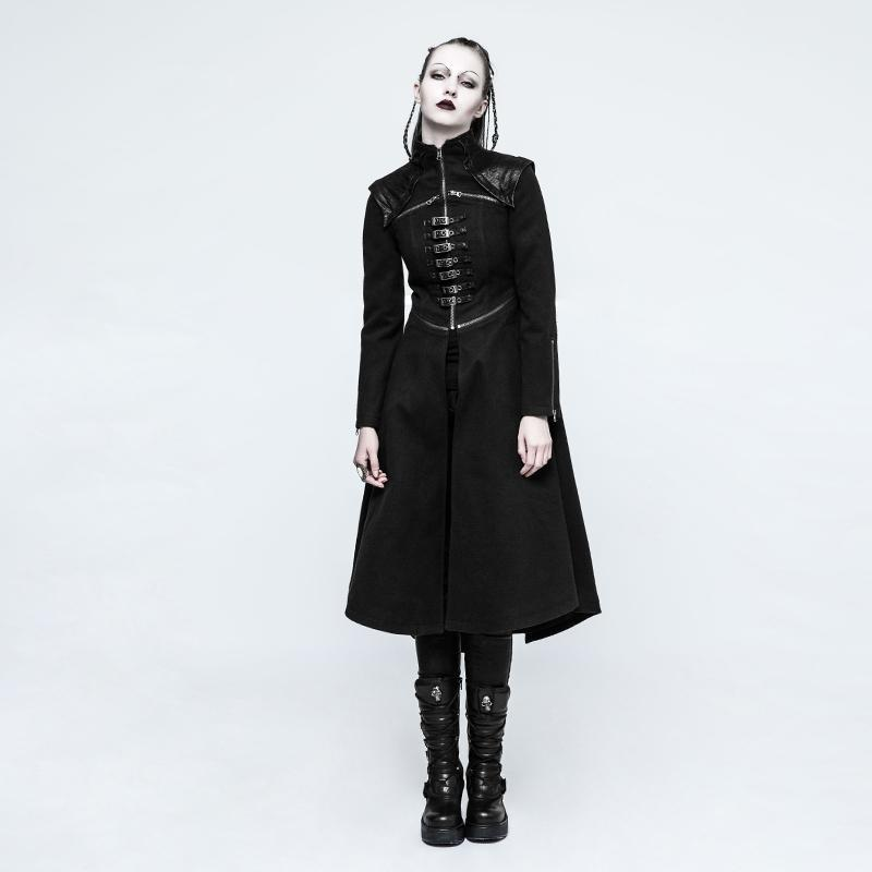 Women's Punk Military Style Buckles Overcoat-Punk Design