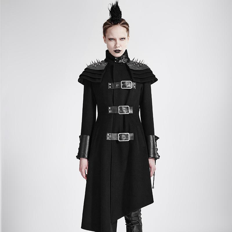 Women's Punk Rivets Stand Up Collar Asymmetrical Military Overcoat-Punk Design