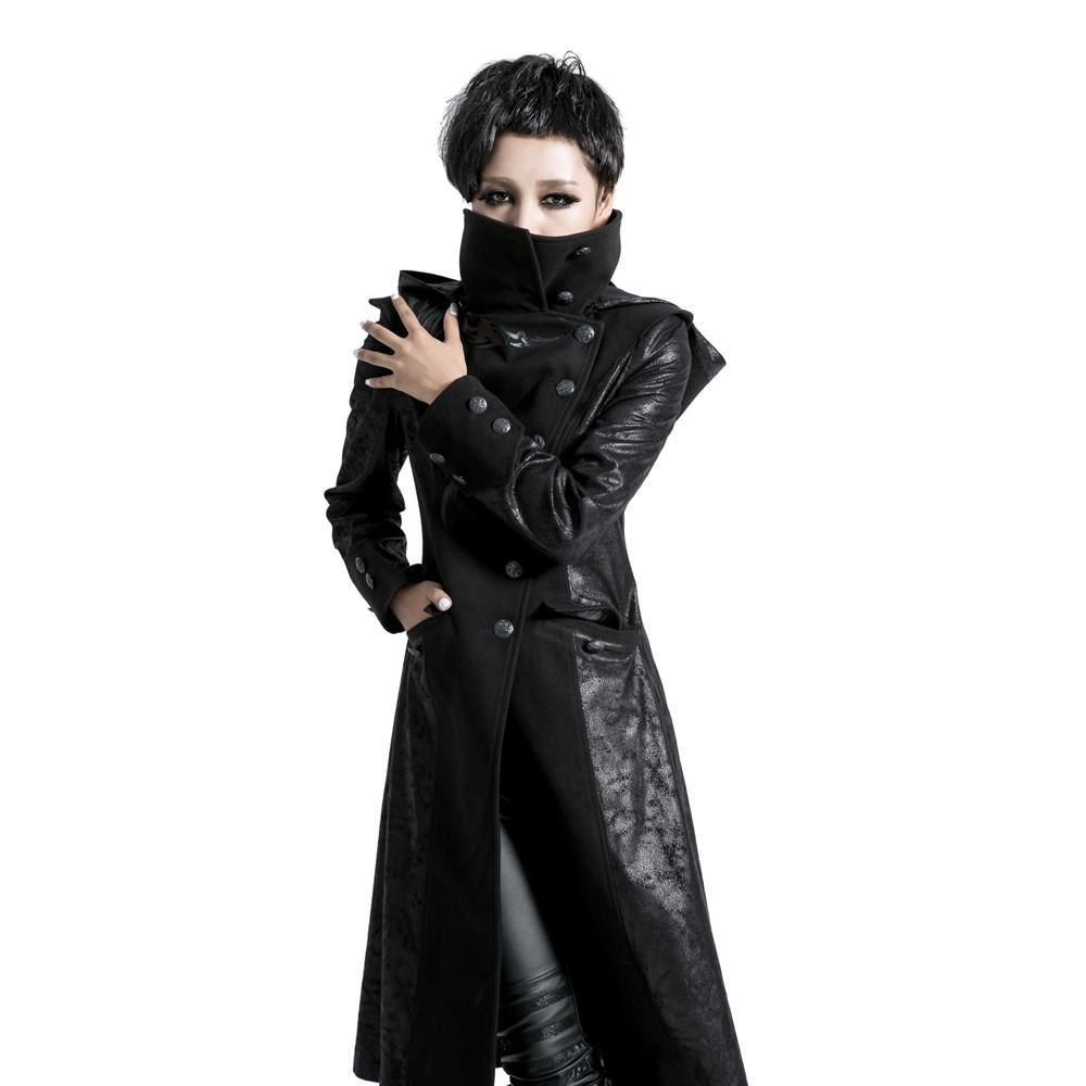 Women's Punk Winter Stand Collar Faux Leather Trench Coat-Punk Design