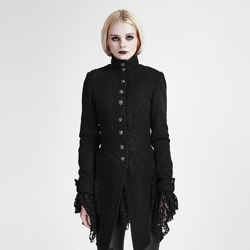 Women's Single Breasted Lace Stitching Sleeve Swallow Tail Woolen Coat-Punk Design
