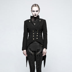 Women's Steampunk Lapel Double Breasted Swallow Tail Worsted Jacket-Punk Design