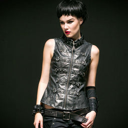 Women's Steampunk Retro Stand Collar Rivets Faux Leather Vest-Punk Design