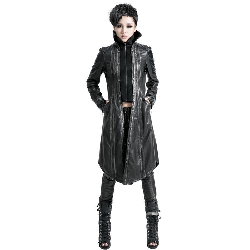 Women's Vintage Bronze Faux Leather Overcoat-Punk Design