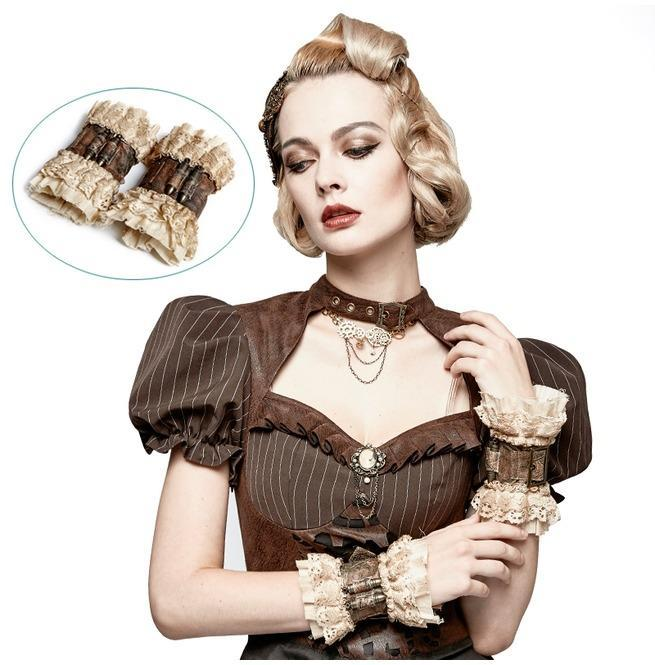 Women's Coffee Heavy Metal Bullet Lace Sleeve Accessory Gloves-Punk Design
