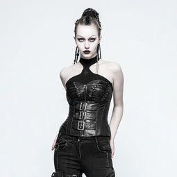 Women's Sexy Lace Up Faux Leather Overbust Corsets-Punk Design