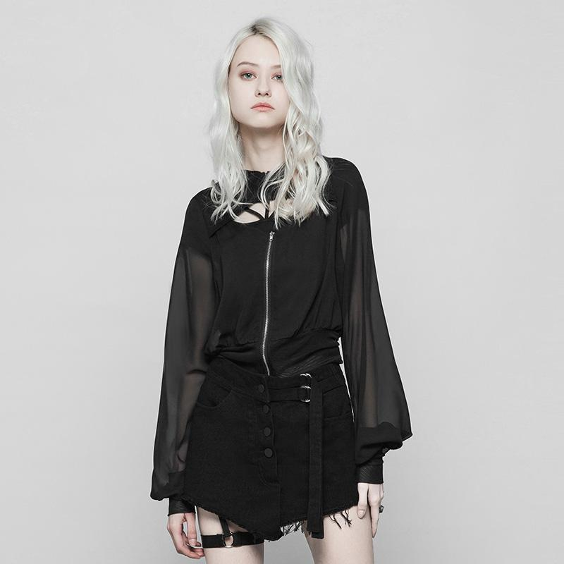 Frauen Deep Hooded Punk Coat-Punk Design