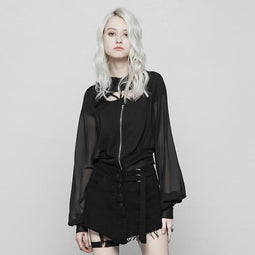 Women's Deep Hooded Punk Coat-Punk Design