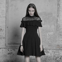 Women's Detachable Frill Short Punk Dress-Punk Design