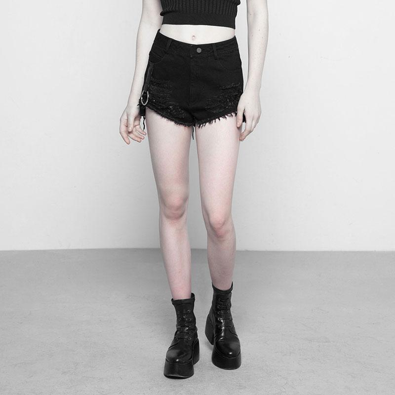 Women's Distressed Rip-Away Punk Shorts-Punk Design