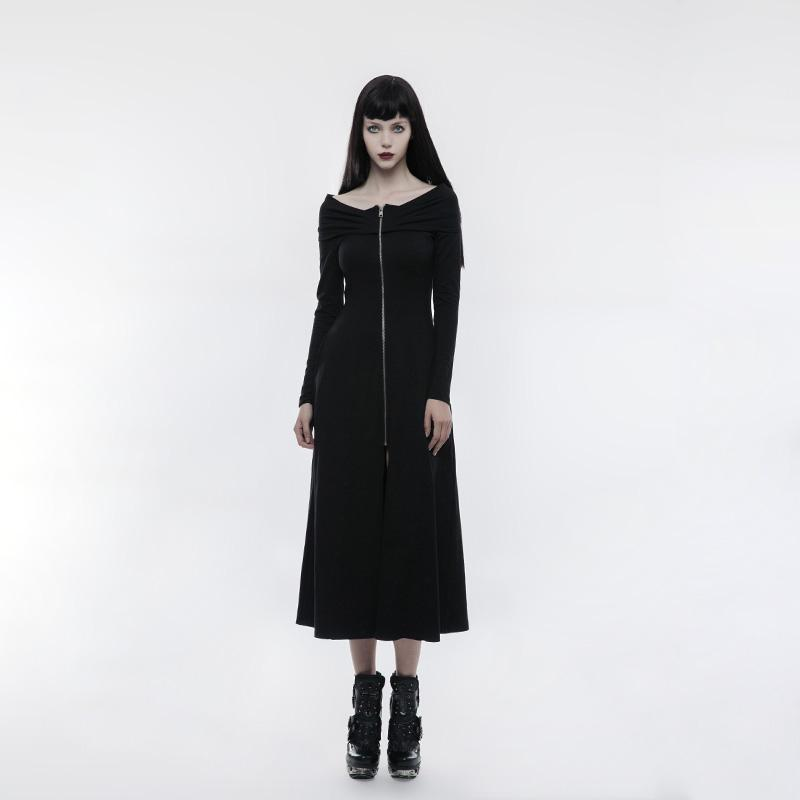 Women's Dropped Shoulder Zipper Slim Fitted Dress-Punk Design