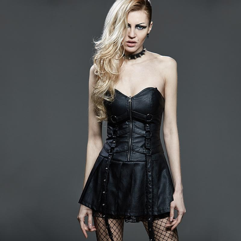 Damen Front Reißverschluss Tube Top Sexy Mini Dress-Punk Design