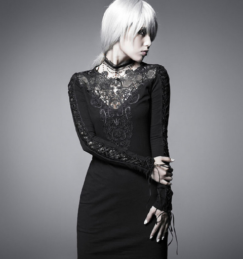 Women's Gothic Floral Crocheted Slim Fitted Party Dress-Punk Design