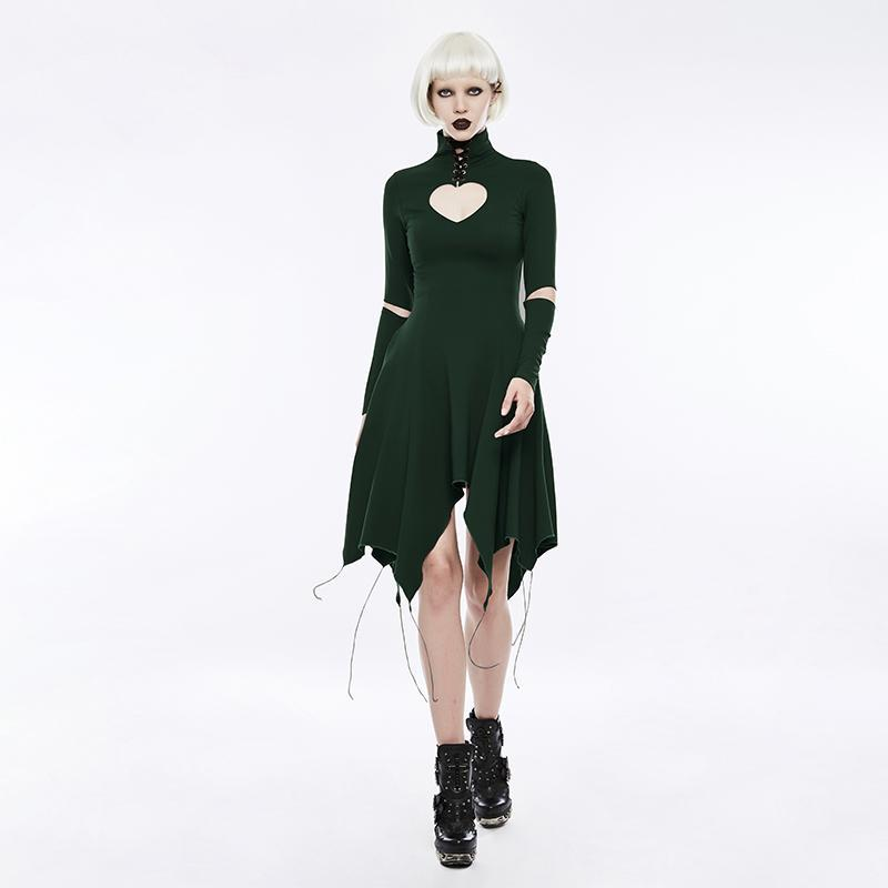 Women's Gothic Heart Shape Hollow Out Asymmetrical Hem Dress Green-Punk Design