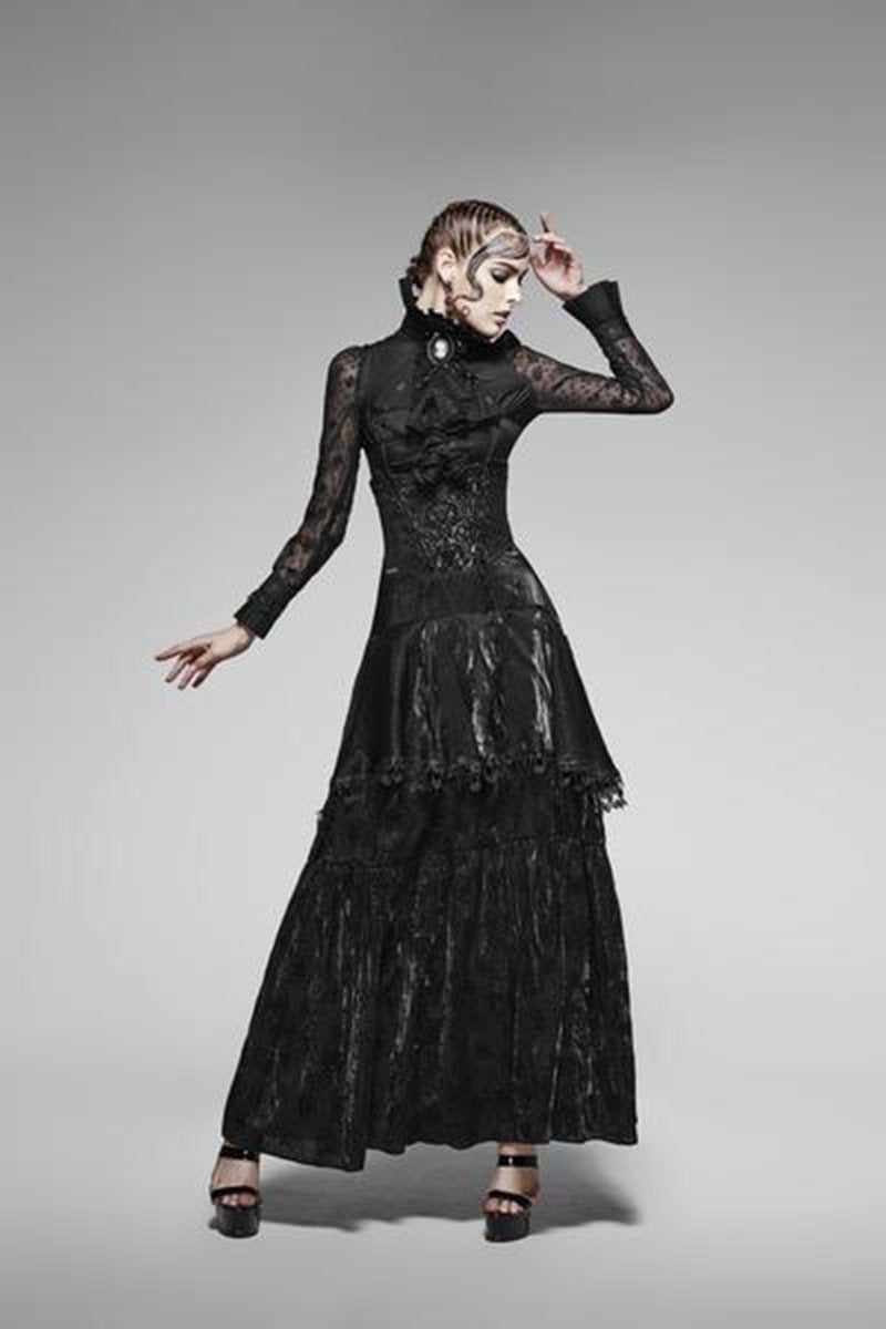 Women's Gothic Multi Layer Lace Tube Top Dress-Punk Design