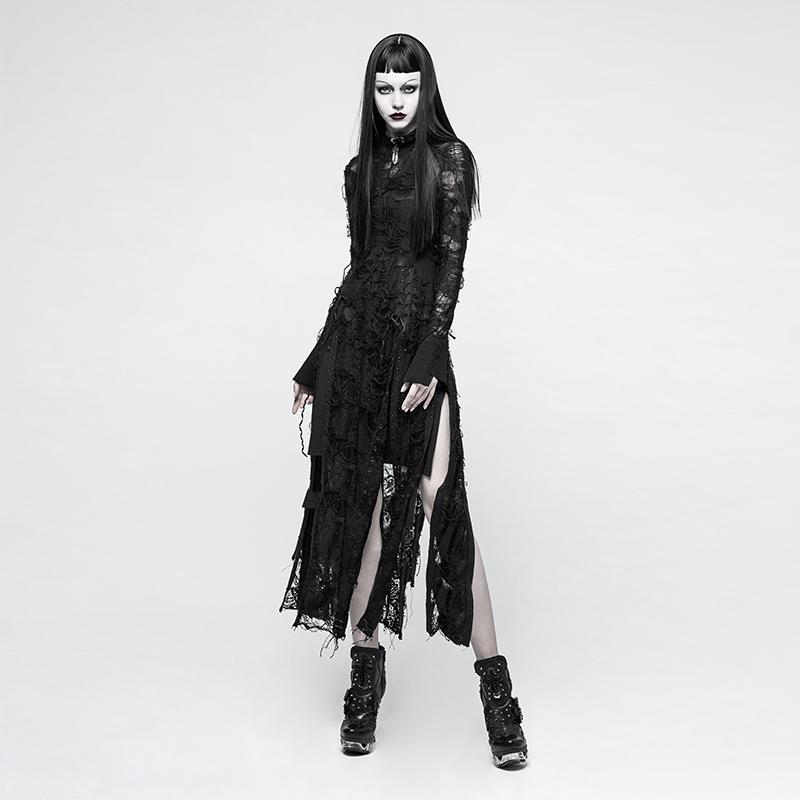 Women's Gothic Rero Distressed Lace Rope Dress-Punk Design
