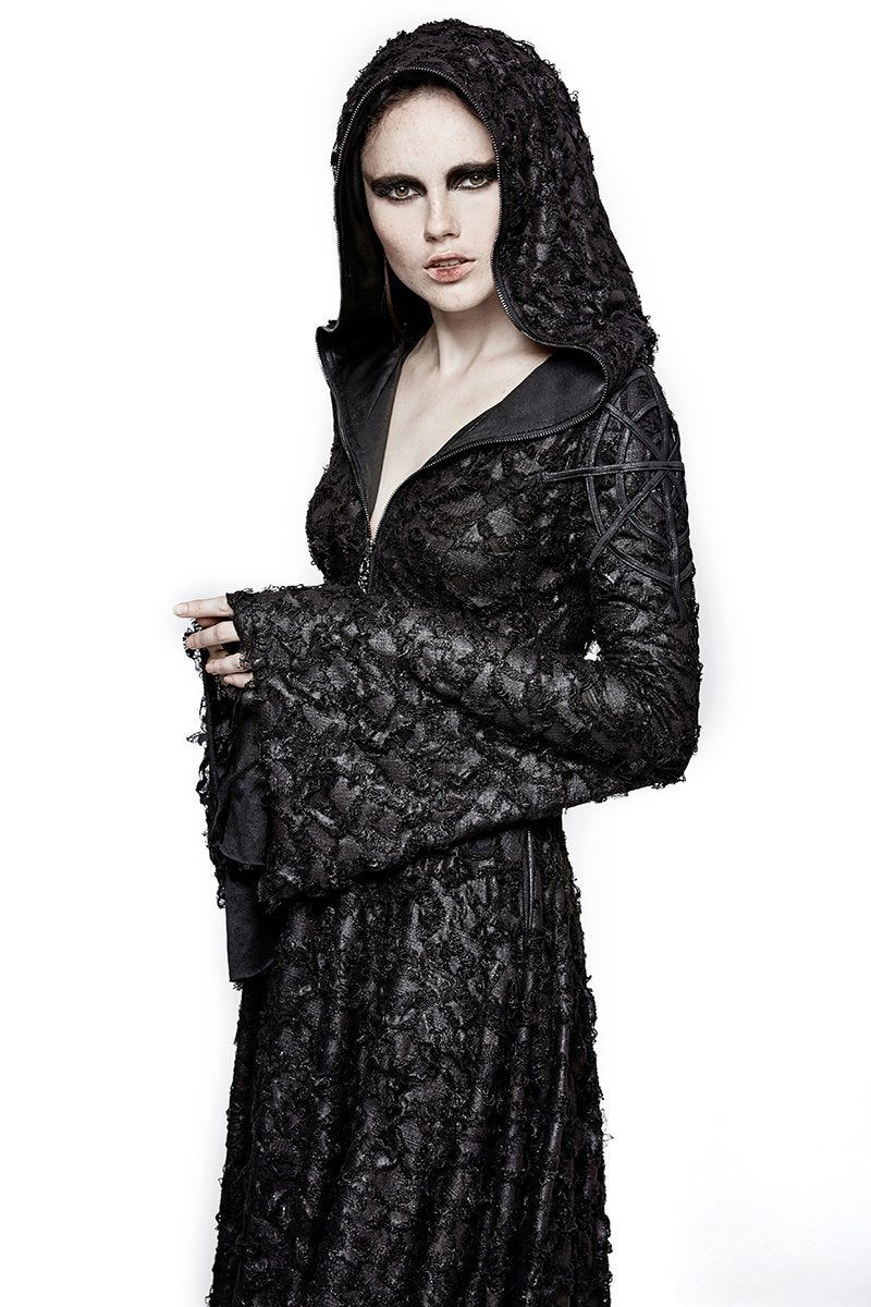 Women's Gothic Threadbare Knitted Outcast Hooded Dress-Punk Design