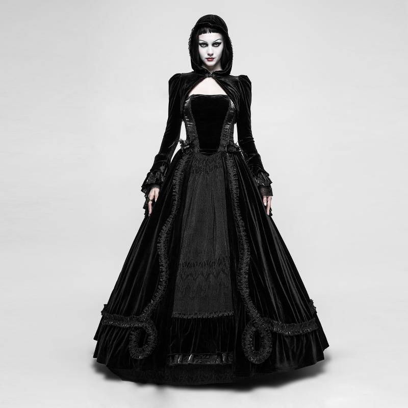 Women's Gothic Velvet Slip Maxi Party Dress-Punk Design