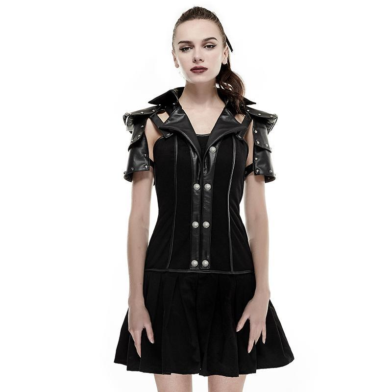 Women's I Shaped Rivets Faux Leather Pleated Dress Black-Punk Design