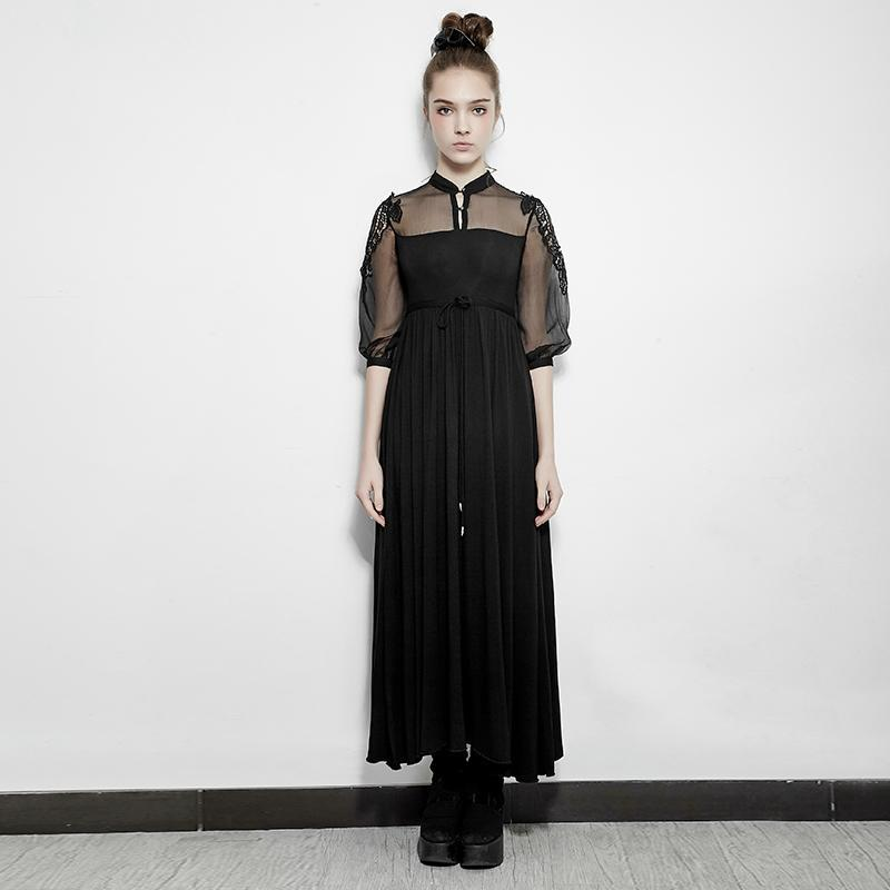 Women's Lace Sheer Sleeve Tunic Long dress with Collar Black-Punk Design