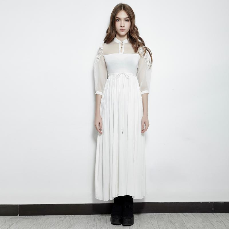 Women's Lace Sheer Sleeve Tunic Long dress with Collar White-Punk Design
