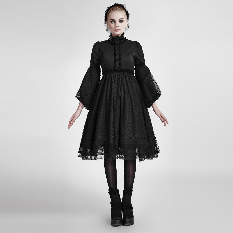 Women's Lolita Puff Sleeves Multilayer Lace Dress-Punk Design