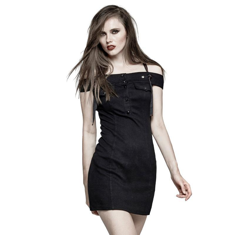 Women's Military Horizontal Neck Slip Dress-Punk Design