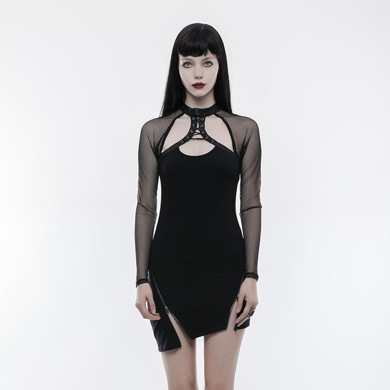 Women's Punk Cutout Diamond Mesh Inclined Pendulum Dress-Punk Design