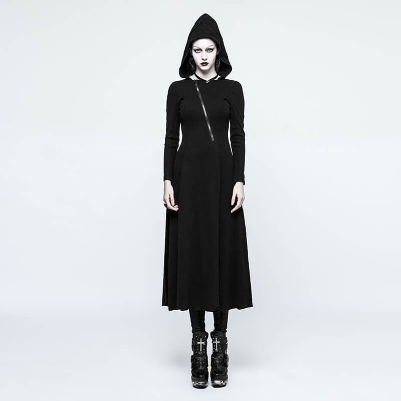 Women's Punk Witch Hooded Long Sleeved Maxi Dress-Punk Design
