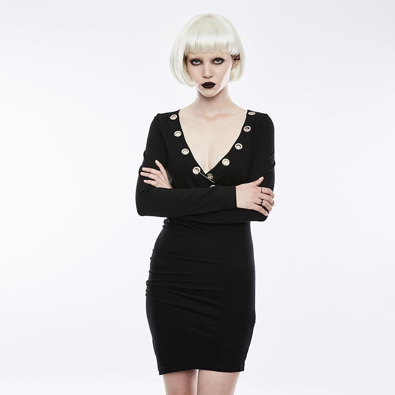 Women's Sexy Ruffle Slim Fitted Dress-Punk Design