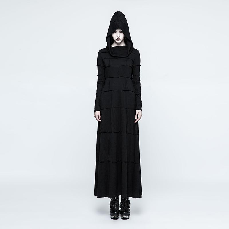 Women's Special Hooded Knitted Long Dress-Punk Design