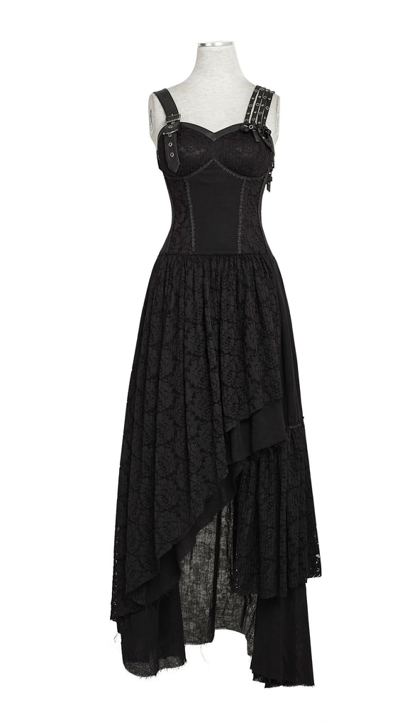 Women's Steampunk Irregular Lace Maxi Slip Dress Black-Punk Design
