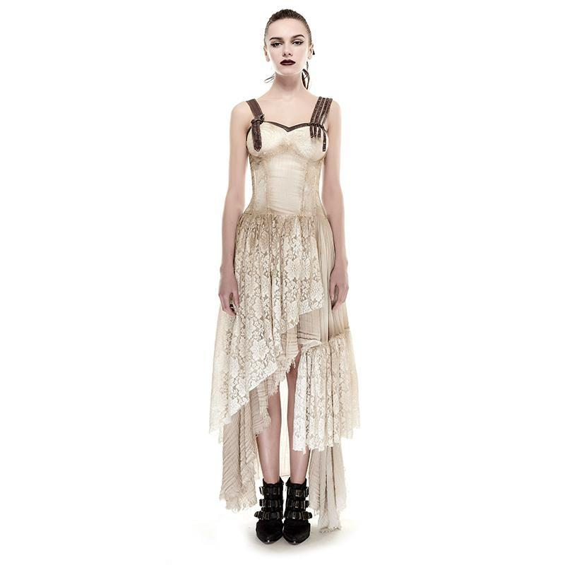 Women's Steampunk Irregular Lace Maxi Slip Dress Khaki-Punk Design