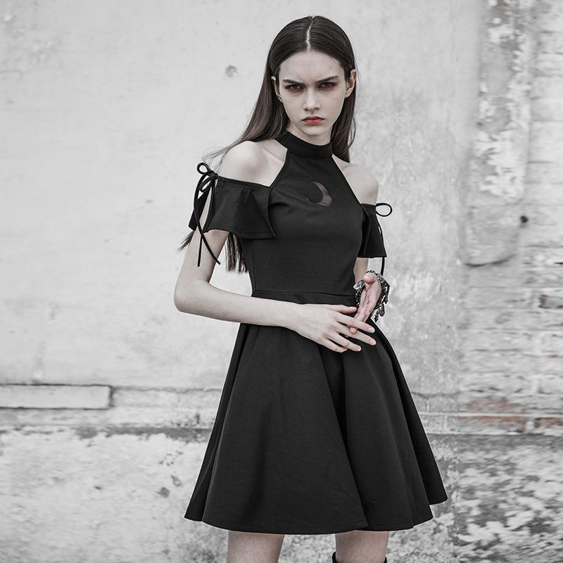Women's Drop Shoulder Halter Neck Punk Dress-Punk Design