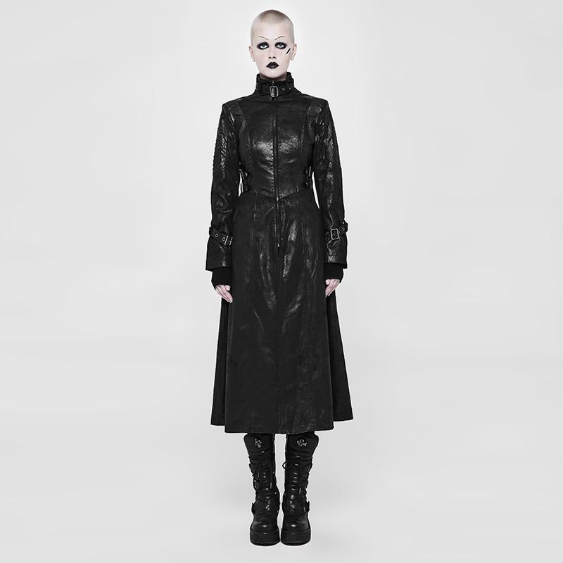 Women's Faux Leather Punk Long Coat-Punk Design