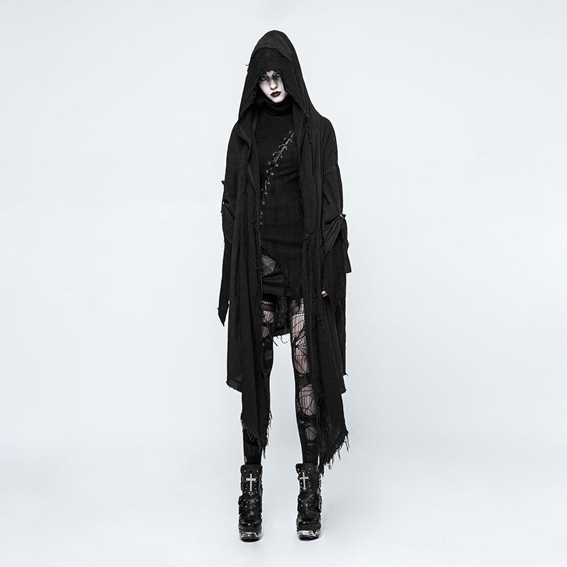 Women's Frayed Loose Cloak-Punk Design