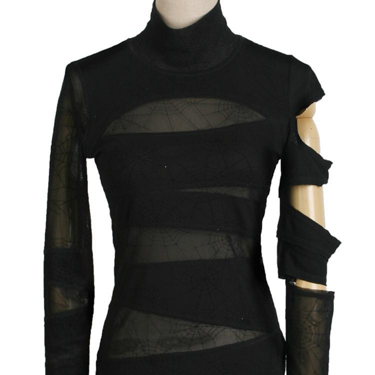 Women's Goth Asymmetric Sheer Cutout Spider Tops-Punk Design