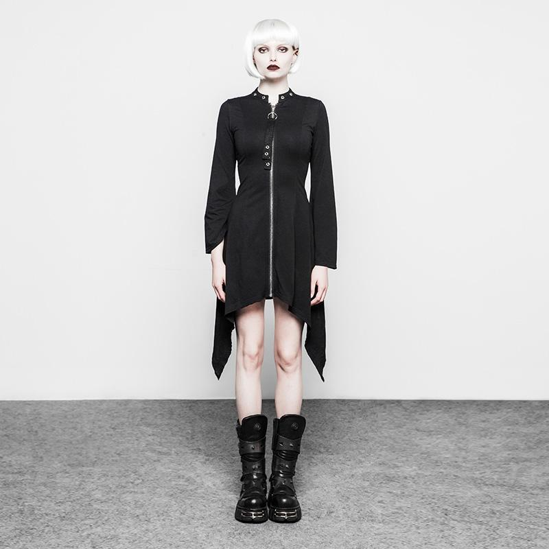 Women's Goth Asymmetrical Long Coat-Punk Design