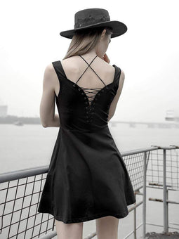 Punk Rave Women's Goth Backless Lacing Vest Dress Black Little Dress