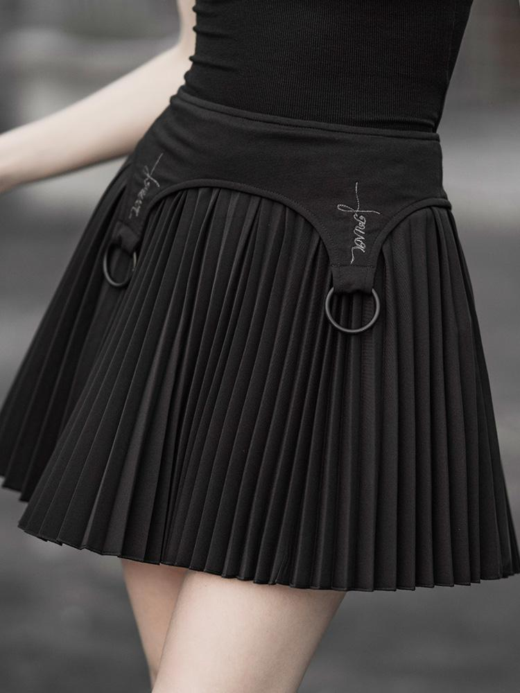 Punk Rave Women's Goth Chiffon Mini Pleated Skirt Black