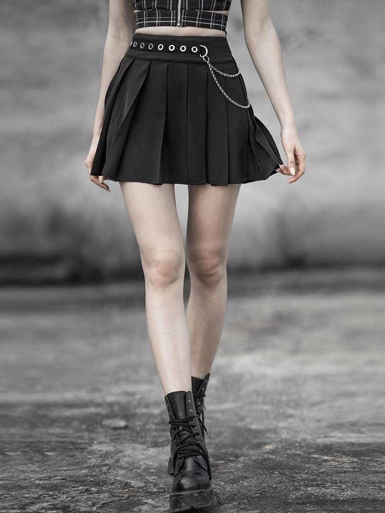 Punk Rave Women's Goth Chiffon Mini Pleated Skirt With Metal Chain Belt