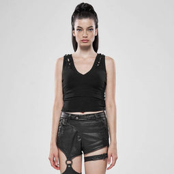 Punk Rave Women's Goth Contracted Style V-Neck Vests