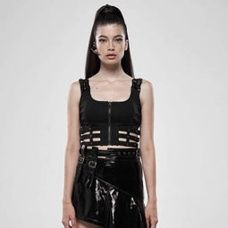 Punk Rave Women's Goth Cutout Buckle Zipper Fly Vests Waistcoats