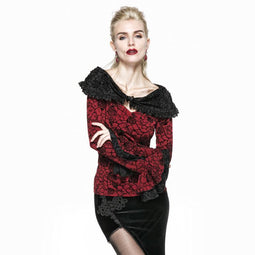 Women's Goth Floral Mendarin Sleeve Off Shoulder Tops-Punk Design