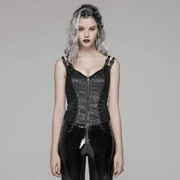 PUNK RAVE Women's Goth Front Zipper Lacing Jacquard Vest