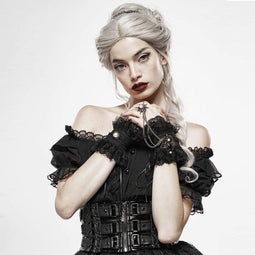 Punk Rave Women's Goth Gem Exaggerated Lace Gloves