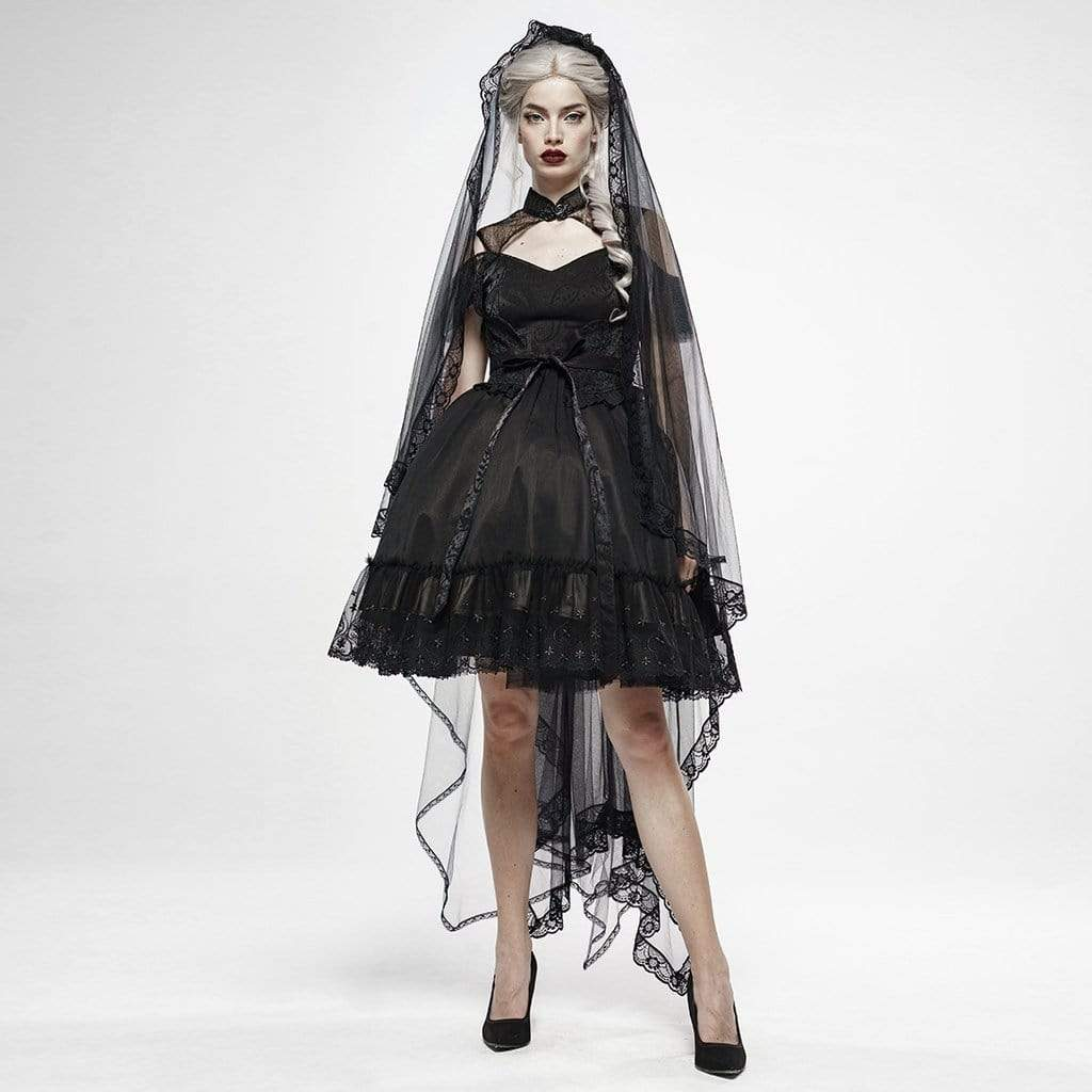 Punk Rave Women's Goth Gorgeous Irregular Long Veil