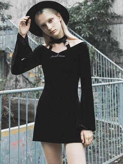 PUNK RAVE Women's Goth Halterneck Velet Little Black Dress With Long Flare Sleeves