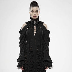Punk Rave Women's Goth High Neck Off Shoulder Frilled Cloaks