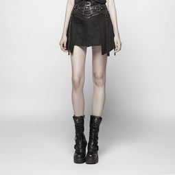 Women's Goth High-Waisted Miniskirt with faux leather Gridle-Punk Design