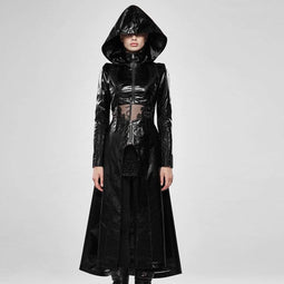 Punk Rave Femmes Goth Hollow Out Slim Fitted Hooded Manteaux avec ourlet détachable